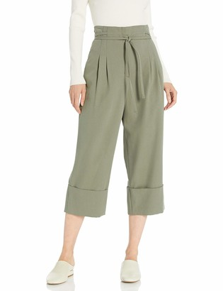 BCBGMAXAZRIA Women's Cuffed Tie Front Cropped Pant