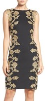 Tadashi Shoji Embroidered Neoprene Sheath Dress