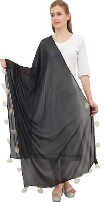 Phagun Women's Designer Chiffon Dupatta Indian Long Stole Tassel Scarfs-Light Blue