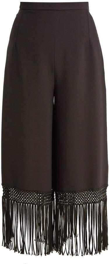 Andrew Gn Fringed-hem wide-leg crepe trousers