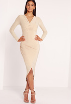 Missguided Slinky Wrap Over Midi Dress Nude