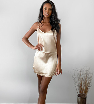 Parisian Tall satin cami slip dresss in beige
