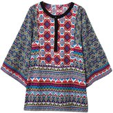 Futurino Women's Vintage Crewneck Ethnic Bohemian Shift Tunic Blouse Shirts L