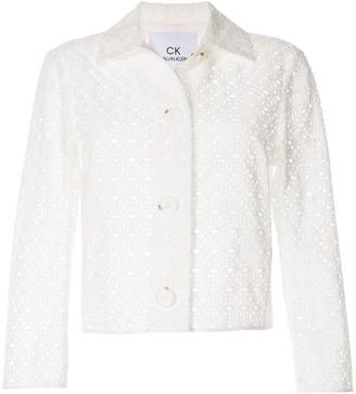 CK Calvin Klein Cropped Eyelet Detailed Jacket