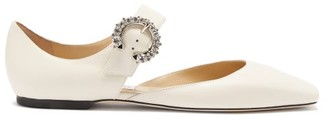 Jimmy Choo Gin Crystal-embellished Mary-jane Leather Flats - Cream
