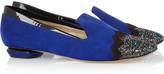 Nicholas Kirkwood Glitter-finished suede loafers