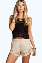 Boohoo Charla Crochet Trim Shorts