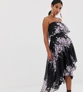 Asos DESIGN Maternity bandeau midi dress in placed linear floral