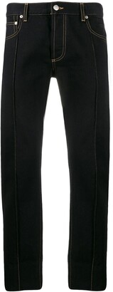 Alexander McQueen Piped Seams Straight-Leg Jeans