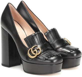 Gucci Marmont Leather platform pumps