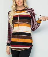 Celeste Women's Tunics BURGANDY - Burgundy & Mustard Stripe Hooded Tunic - Women & Plus