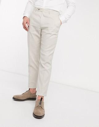 Asos DESIGN wedding slim suit pants in stretch cotton linen in stone