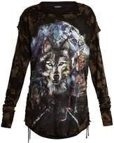 Balmain Wolf-print layered T-shirt