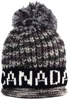 Robin Ruth Canada Warm Black and Grey Canada Charcoal Pom Pom Beanie Tuque