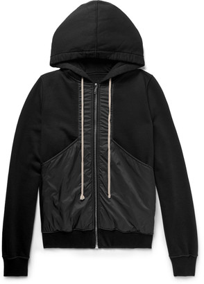 Rick Owens Drkshdw Panelled Fleece-Back Cotton-Jersey And Shell Zip-Up Hoodie