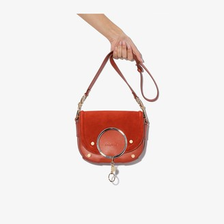 See by Chloe Red suede and leather cross body ring bag