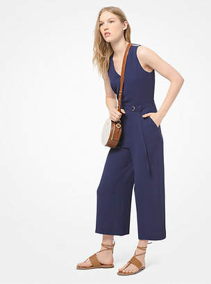 Michael Kors Stretch-Crepe Belted Jumpsuit