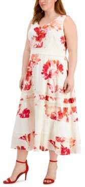 Thumbnail for your product : Taylor Plus Size Lace-Inset Midi Dress