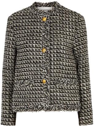 Valentino Metallic-weave embellished tweed jacket