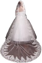 VaniaDress Tulle Sheer Lace Appliques Wedding Bridal Veils Cathedral for Bride V030TS