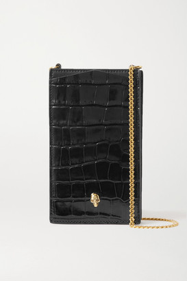 Alexander McQueen Embellished Glossed Croc-effect Leather Phone Case - Black