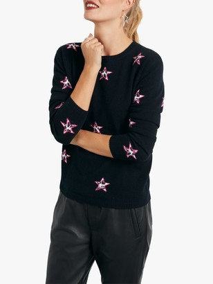 Hush Cashmere Animal Print Star Jumper, Black/Pink/Animal