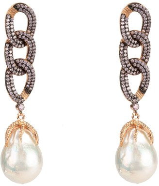 Latelita Baroque Pearl Link Chain Drop Earring Morganite Pink