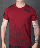 Rebel Spirit Burgundy 'Rebellious Elegance' Embroidery Tee - Men's Regular