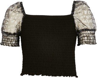 River Island Girls Black shirred organza sleeve top