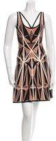 Herve Leger Sleeveless A-Line Dress