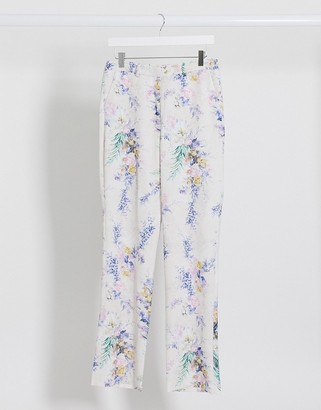 ASOS DESIGN wide leg suit trousers co ord in floral print