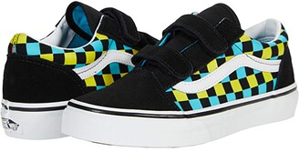 Vans Kids Old Skool V (Big Kid) ((Neon Glow Check) Black/Multi) Boys Shoes