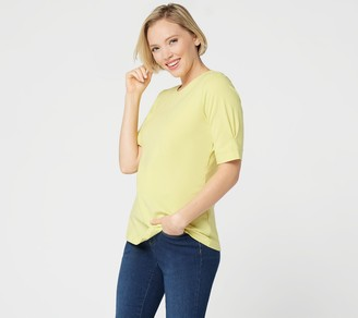 Denim & Co. Perfect Jersey Pleated Elbow Sleeve Top