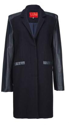 M Blue Archie Foal - Womens Navy Toril Wool And Leather Coat - M - Blue