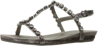 Kenneth Cole Reaction Women's Lost Catch Flat Gladiator Open Toe Sandal with Gemstone Accents-Embossed