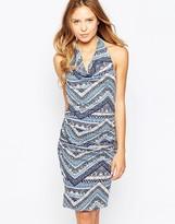 Ichi Mixed Print Halterneck Dress