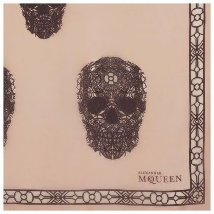 Alexander McQueen Stained Glass Multi-Skull Silk Chiffon Scarf