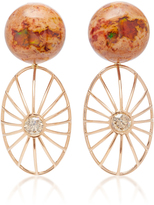 Susan Foster 18K Rose Gold Opal and Diamond Earrings