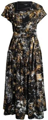Proenza Schouler Silk Foil-Printed Short-Sleeve Midi Dress
