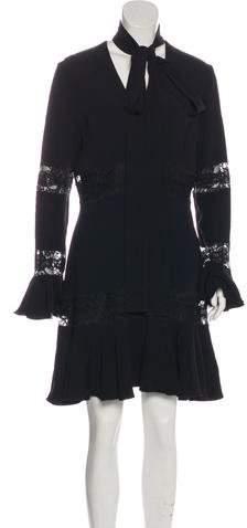 Elie Saab Lace-Accented Mini Dress