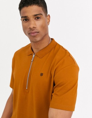 Jack and Jones relaxed fit zip neck polo in rust orange