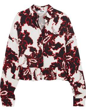 MSGM Ruffled Printed Crepe Shirt
