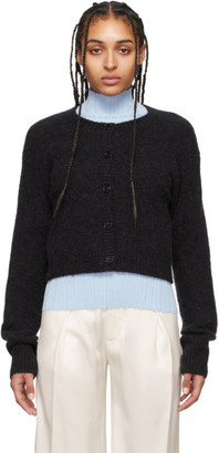 Acne Studios Black Alpaca Cropped Cardigan