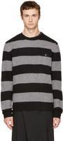 McQ by Alexander McQueen Grey & Black Punk Stripe Swallow Badge Sweater