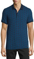 Versace Textured Triangle-Stamped Short-Sleeve Polo Shirt, Purple