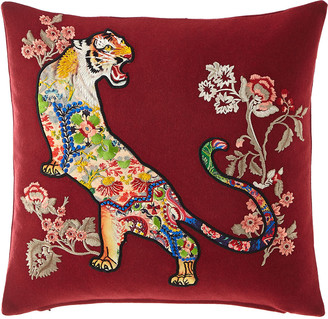 "Etro Floral Tiger Embroidered Pillow, 18""Sq."