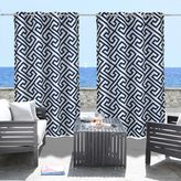 Commonwealth Home Fashions Greek Key Grommet Top Indoor/Outdoor Curtain Panel in Navy