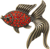 Orange Rhinestone & Brass-Tone Goldfish Brooch