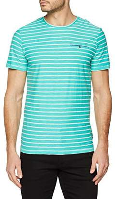 Tom Tailor Men's's Fine Stripe tee T-Shirt, (Waterfall Green 7653), L