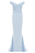 Quiz Pale Blue Bardot Lace Maxi Dress
